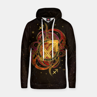 Thumbnail image of Sagittarius Zodiac Sign Fire element Cotton hoodie, Live Heroes