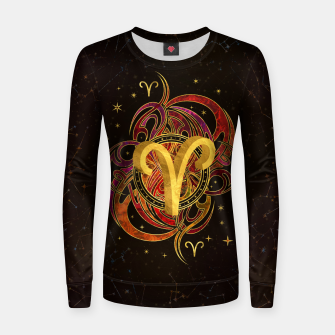Thumbnail image of Aries Zodiac Sign Fire element Woman cotton sweater, Live Heroes