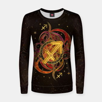 Thumbnail image of Sagittarius Zodiac Sign Fire element Woman cotton sweater, Live Heroes
