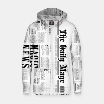 Thumbnail image of The Daily Mage Magic Fantasy Newspaper Cotton zip up hoodie, Live Heroes
