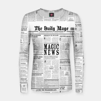 Thumbnail image of The Daily Mage Magic Fantasy Newspaper Woman cotton sweater, Live Heroes