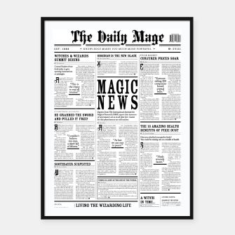 Thumbnail image of The Daily Mage Magic Fantasy Newspaper Framed poster, Live Heroes