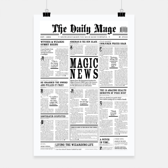 Thumbnail image of The Daily Mage Magic Fantasy Newspaper Poster, Live Heroes