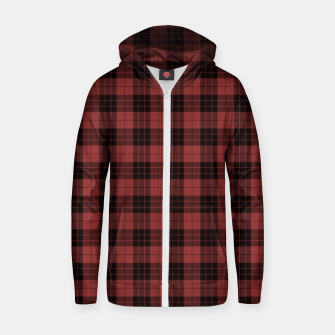 Miniatur Red and Black Tartan Check Plaid Cotton zip up hoodie, Live Heroes