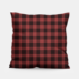 Miniatur Red and Black Tartan Check Plaid Pillow, Live Heroes