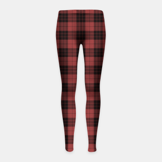 Miniatur Red and Black Tartan Check Plaid Girl's leggings, Live Heroes