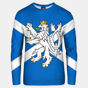 Miniatur Blue and White Scottish Flag with White Lion Cotton sweater, Live Heroes