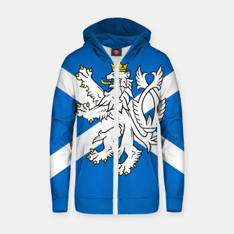 Miniatur Blue and White Scottish Flag with White Lion Cotton zip up hoodie, Live Heroes