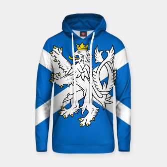 Miniatur Blue and White Scottish Flag with White Lion Cotton hoodie, Live Heroes
