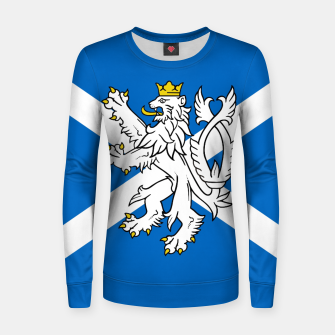 Miniatur Blue and White Scottish Flag with White Lion Woman cotton sweater, Live Heroes
