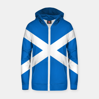 Miniatur Blue and White Scottish Flag Cotton zip up hoodie, Live Heroes
