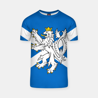 Miniatur Blue and White Scottish Flag with White Lion T-shirt, Live Heroes