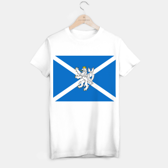 Miniatur Blue and White Scottish Flag with White Lion T-shirt regular, Live Heroes