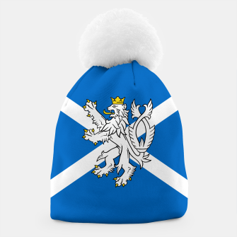 Miniatur Blue and White Scottish Flag with White Lion Beanie, Live Heroes