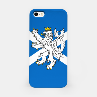 Miniatur Blue and White Scottish Flag with White Lion iPhone Case, Live Heroes