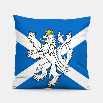 Miniatur Blue and White Scottish Flag with White Lion Pillow, Live Heroes