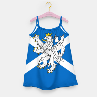 Miniatur Blue and White Scottish Flag with White Lion Girl's dress, Live Heroes