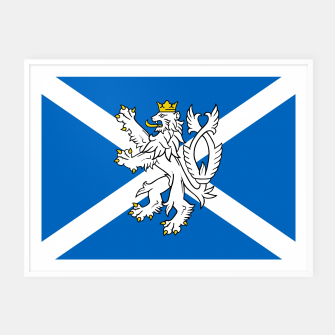 Miniatur Blue and White Scottish Flag with White Lion Framed poster, Live Heroes