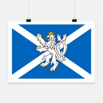 Miniatur Blue and White Scottish Flag with White Lion Poster, Live Heroes