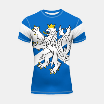 Miniatur Blue and White Scottish Flag with White Lion Shortsleeve rashguard, Live Heroes