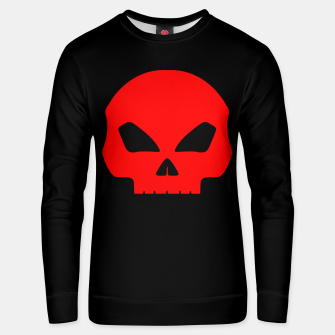 Miniatur Large Blood Red Hollow Eyed Halloween Death Skull on Black Cotton sweater, Live Heroes