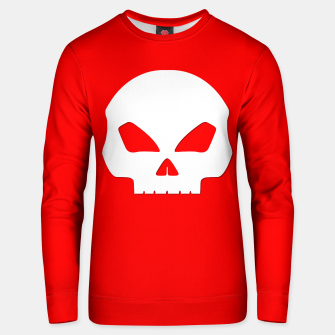 Miniatur Large White Hollow Eyed Halloween Death Skull on Blood Red Cotton sweater, Live Heroes