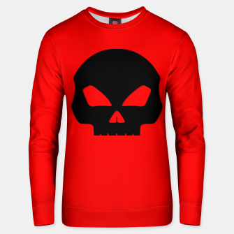 Miniatur Large Black Hollow Eyed Halloween Death Skull on Blood Red Cotton sweater, Live Heroes
