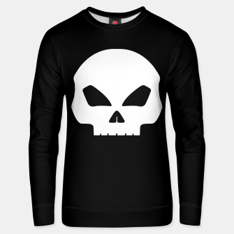 Miniatur Large White Hollow Eyed Halloween Death Skull on Black Cotton sweater, Live Heroes