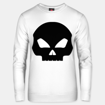 Miniatur Large Black Hollow Eyed Halloween Death Skull on White Cotton sweater, Live Heroes