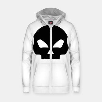 Miniatur Large Black Hollow Eyed Halloween Death Skull on White Cotton zip up hoodie, Live Heroes