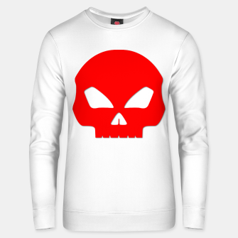 Miniatur Large Blood Red Hollow Eyed Halloween Death Skull on White Cotton sweater, Live Heroes