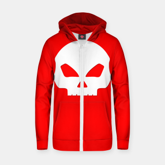Miniatur Large White Hollow Eyed Halloween Death Skull on Blood Red Cotton zip up hoodie, Live Heroes