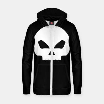 Miniatur Large White Hollow Eyed Halloween Death Skull on Black Cotton zip up hoodie, Live Heroes