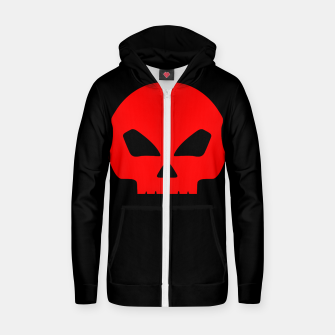 Miniatur Large Blood Red Hollow Eyed Halloween Death Skull on Black Cotton zip up hoodie, Live Heroes