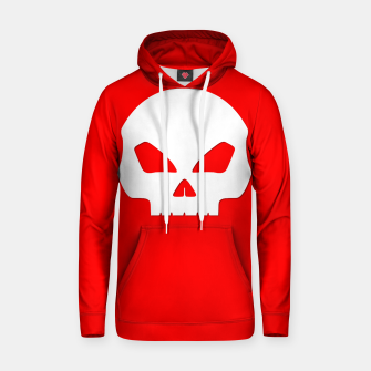 Miniatur Large White Hollow Eyed Halloween Death Skull on Blood Red Cotton hoodie, Live Heroes