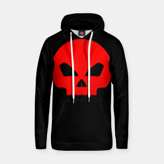 Miniatur Large Blood Red Hollow Eyed Halloween Death Skull on Black Cotton hoodie, Live Heroes