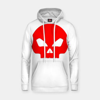 Miniatur Large Blood Red Hollow Eyed Halloween Death Skull on White Cotton hoodie, Live Heroes
