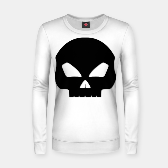 Miniatur Large Black Hollow Eyed Halloween Death Skull on White Woman cotton sweater, Live Heroes