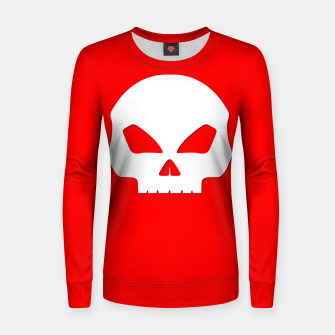 Miniatur Large White Hollow Eyed Halloween Death Skull on Blood Red Woman cotton sweater, Live Heroes