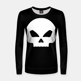 Miniatur Large White Hollow Eyed Halloween Death Skull on Black Woman cotton sweater, Live Heroes
