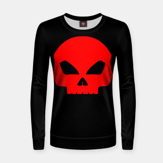 Miniatur Large Blood Red Hollow Eyed Halloween Death Skull on Black Woman cotton sweater, Live Heroes