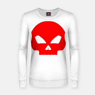 Miniatur Large Blood Red Hollow Eyed Halloween Death Skull on White Woman cotton sweater, Live Heroes