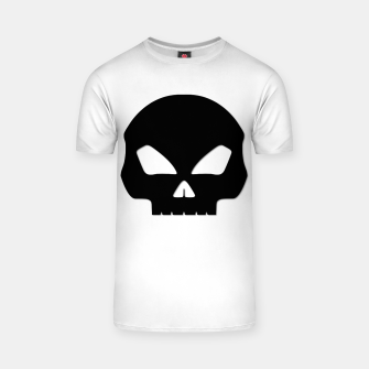 Miniatur Large Black Hollow Eyed Halloween Death Skull on White T-shirt, Live Heroes