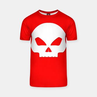 Miniatur Large White Hollow Eyed Halloween Death Skull on Blood Red T-shirt, Live Heroes