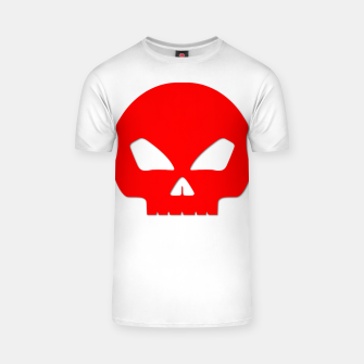 Miniatur Large Blood Red Hollow Eyed Halloween Death Skull on White T-shirt, Live Heroes