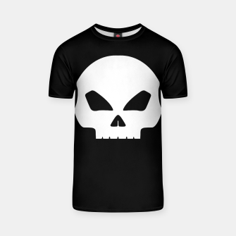 Miniatur Large White Hollow Eyed Halloween Death Skull on Black T-shirt, Live Heroes