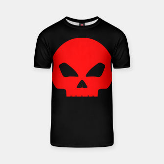 Miniatur Large Blood Red Hollow Eyed Halloween Death Skull on Black T-shirt, Live Heroes