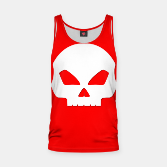 Miniatur Large White Hollow Eyed Halloween Death Skull on Blood Red Tank Top, Live Heroes