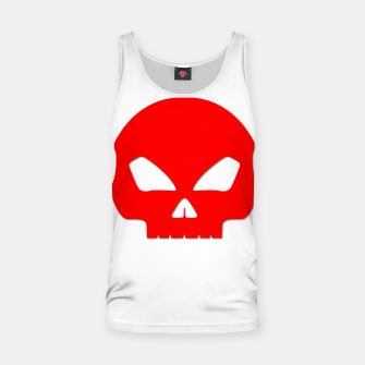 Miniatur Large Blood Red Hollow Eyed Halloween Death Skull on White Tank Top, Live Heroes