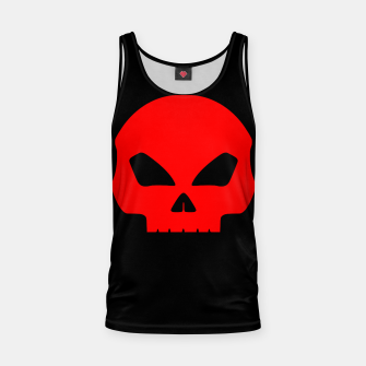 Miniatur Large Blood Red Hollow Eyed Halloween Death Skull on Black Tank Top, Live Heroes